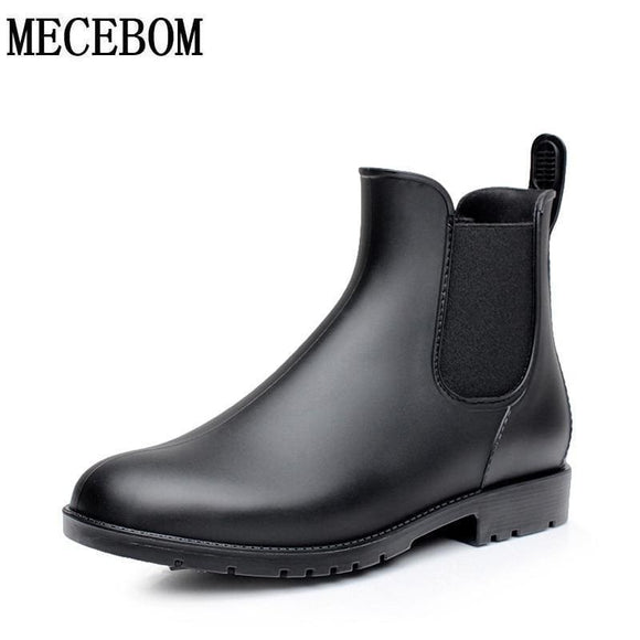 Men Rubber Rain Boots Fashion Black Chelsea Boots Casual Lovers Botas Slip-On Waterproof Ankle Boots Moccasins 35-43 102M Mecebom Store