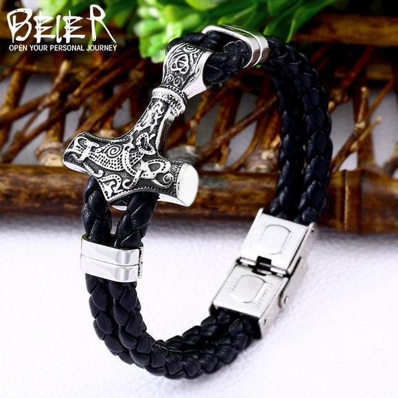 Mens Beier 316L Stainless Steel Dropshipping 1Pcs Thors Hammer Mjolnir Bracelet Viking Scandinavian Norse Viking Bracelet Men Gift Apparel &