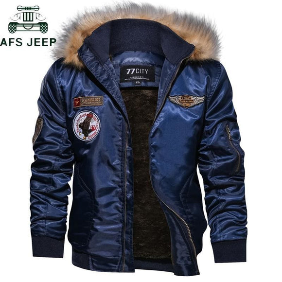 Mens Bomber Jacket Mens Plus Size 4Xl Thick Fleece Winter Rmy Military Motorcycle Jacket Mens Pilot Jacket Coat Cargo Outerwear Blue Zodeys