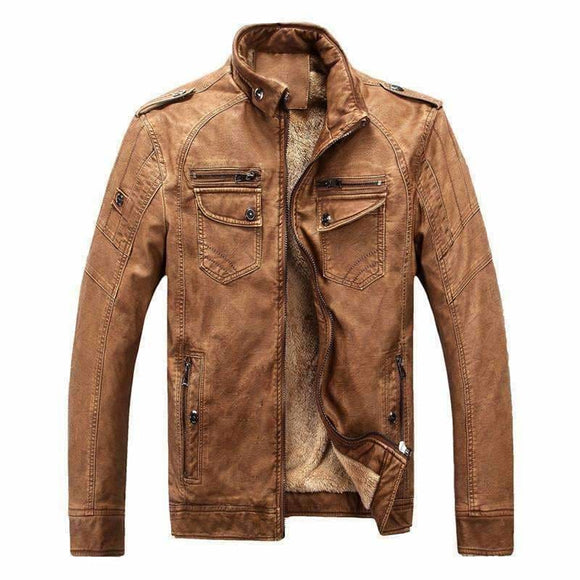 Mens Classic Leather Jacket Apparel & Accessories > Clothing > Outerwear > Coats & Jackets