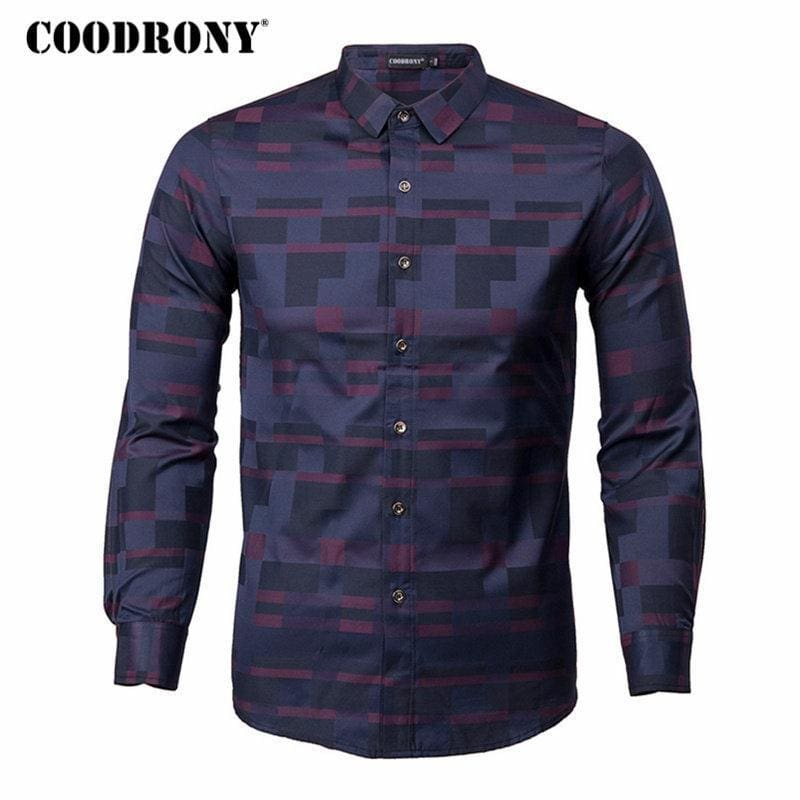 a68ad24f6242 Mens Coodrony Men Shirt Mens Business Casual Shirts New Arrival Men Famous Clothing  Plaid Long Sleeve