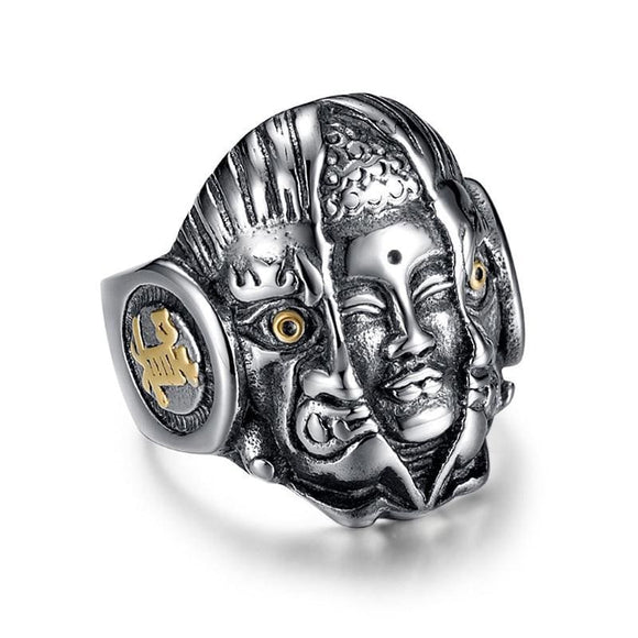 Mens Demon & Buddha Religion Face Ring For Men Lord God The Eye Of Evil One Ring Punk Domineering Signet Ring Titanium Jewelry Shop3861071