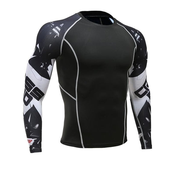 Mens Fitness Long Sleeves Rashguard T Shirt Men Bodybuilding Skin Tight Thermal Compression Shirts Mma Crossfit Workout Top Gear Apparel &