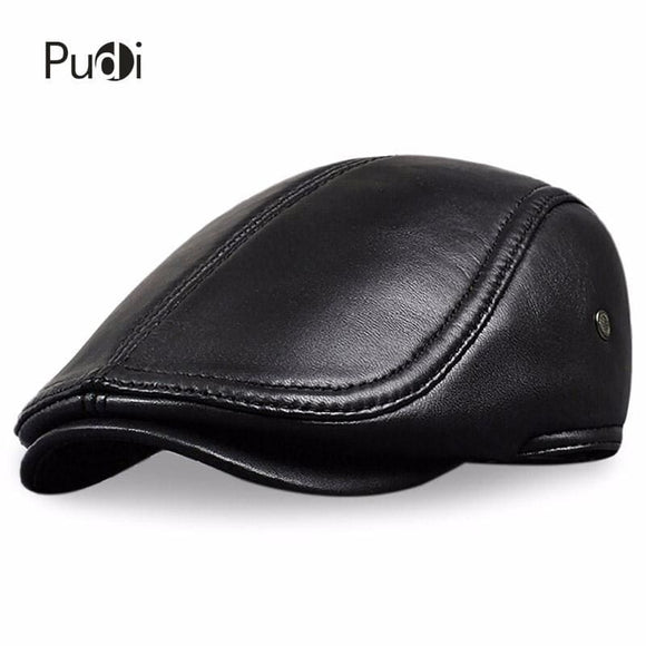 Mens Hl041 Mens Leather Baseball Cap Style Sheep Leather Beret Newsboy Belt Hunting Gatsby Black Caps Hats Zodeys