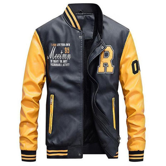 Mens Jacket Men Embroidery Baseball Jackets Pu Leather Coats Slim Fit College Luxury Fleece Pilot Leather Jackets Casaco Masculino Linstone