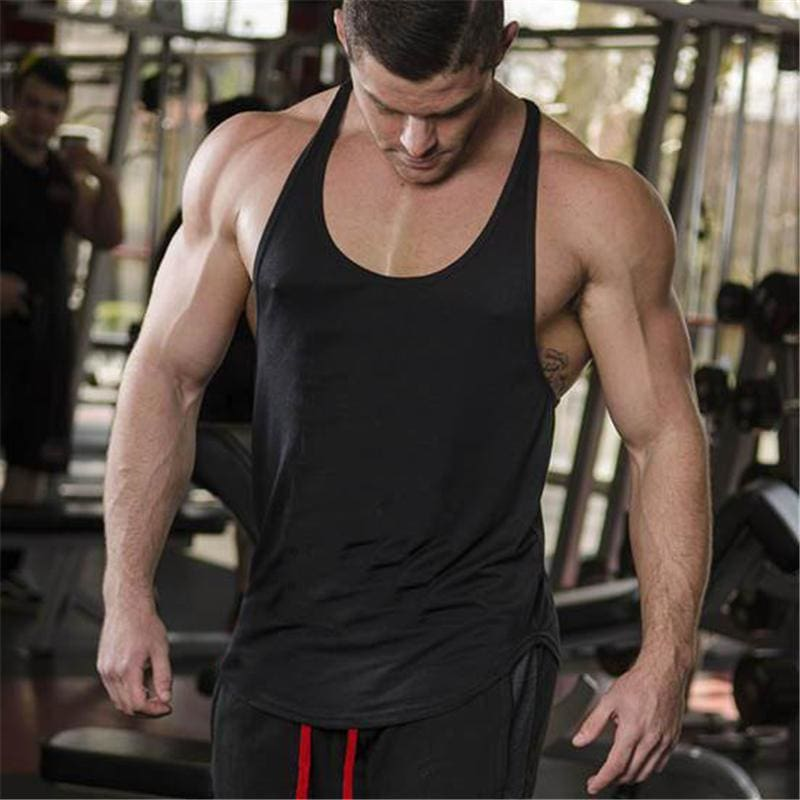 ad8df9d76946e Mens Solid Clothing Bodybuilding Tank Top Mens Sleeveless Shirts Fitness  Mens Singlets Blank Cotton Workout Stringer