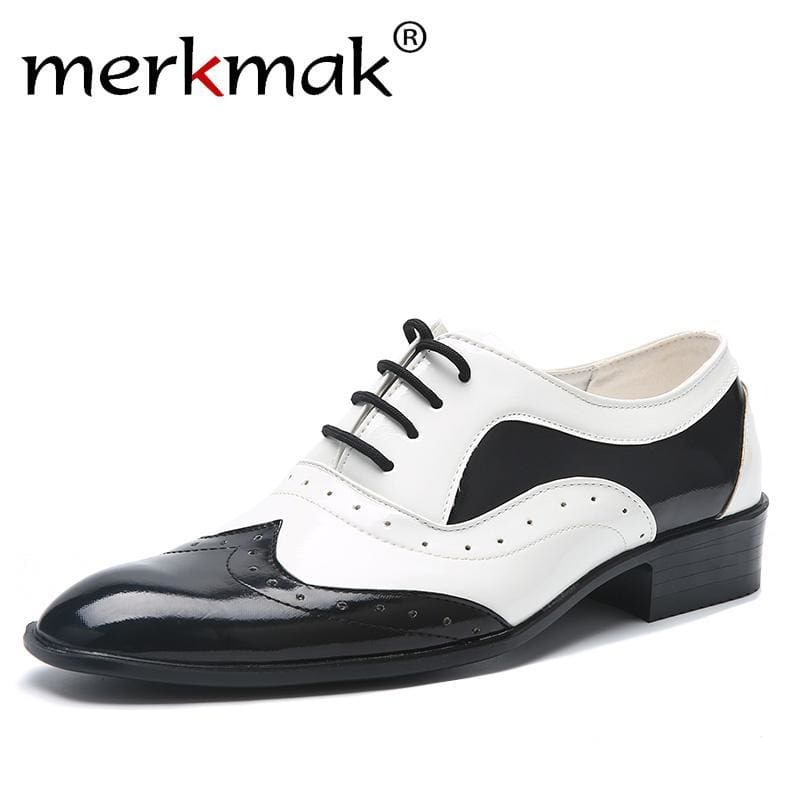 2ab49fb38edd Mens Trend Pointed Toe Casual Flats Mens Wedding Shoes Male Japanned Leather  Shoes Black White Brogue