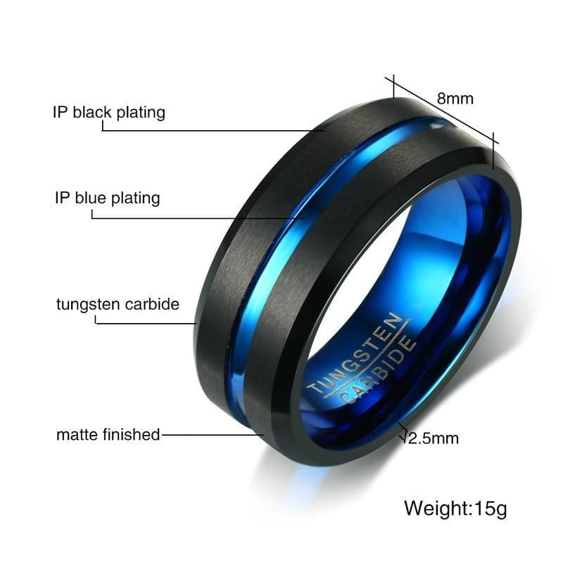 Mens Wedding Band Two Tone 8mm Black Tungsten Carbide Ring For Men