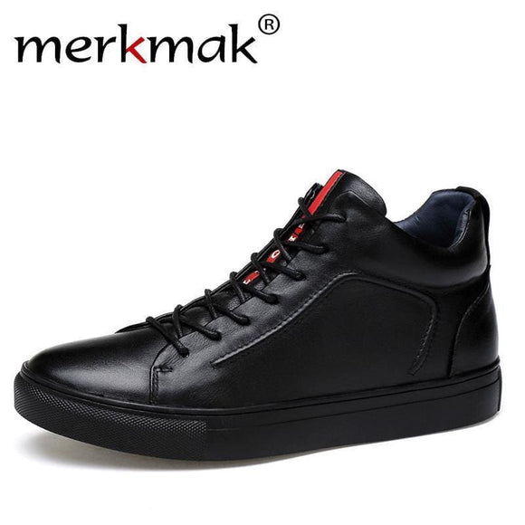 Merkmak Genuine Leather Men Waterproof Shoes Men Casual Sneakers Fashion Ankle Boots For Men High Top Winter Men Shoes Size 47 Apparel &