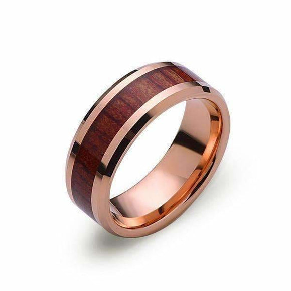 Mirror Polish Titanium Band With Mahogany Inlay Jewelry & Accessories > Rings