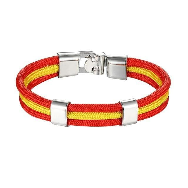 Mkendn New Fashion Country Spain Flag Nylon Rope Leather Bracelet Easy-Hook Bracelets & Bangles Male Female Jewelry Pulseras Spain Apparel &