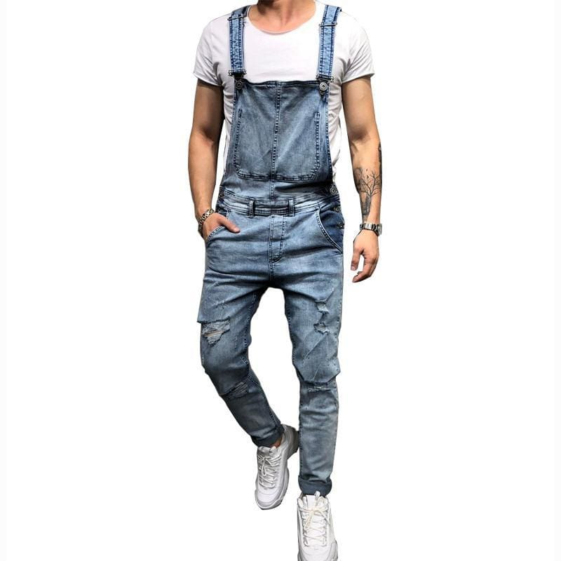 7995c60ffe Moruancle Fashion Mens Ripped Jeans Jumpsuits Hi Street Distressed Denim  Bib Overalls For Man Suspender Pants