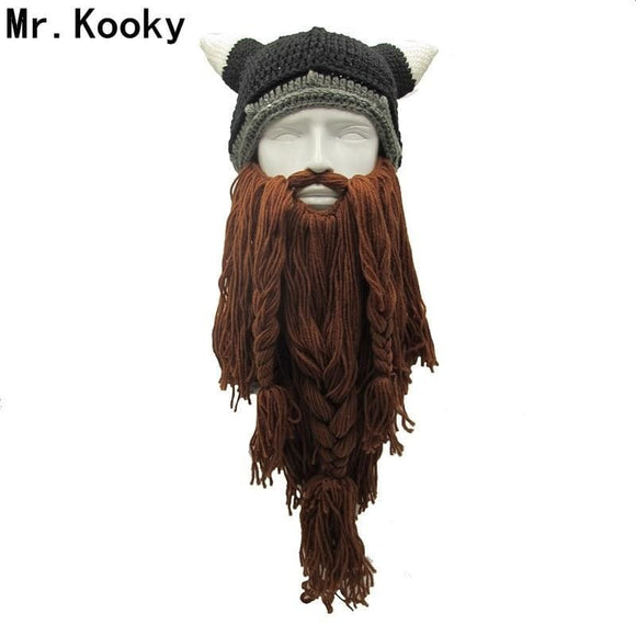 Mr.kooky Mens Barbarian Vagabond Viking Beard Beanie Horn Hats Handmade Winter Warm Birthday Cool Gifts Funny Gag Halloween Cap Gray Zodeys