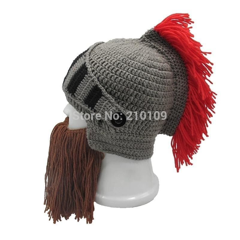 561abf398b3 Mr.kooky Red Tassel Cosplay Roman Knight Knit Helmet Mens Caps Original  Barbarian Handmade Winter