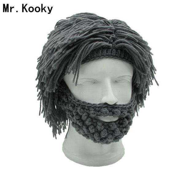 Mr.kooky Wig Beard Hats Hobo Mad Scientist Caveman Handmade Knit Warm Winter Caps Men Women Halloween Gifts Funny Party Beanies Gray White
