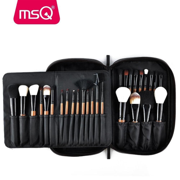 Msq 28Pcs Makeup Brushes Set Pro Powder Blusher Foundation Eye Shadow Make Up Brushes Cosmetics Brush Kit With Pu Leather Case Msq Official