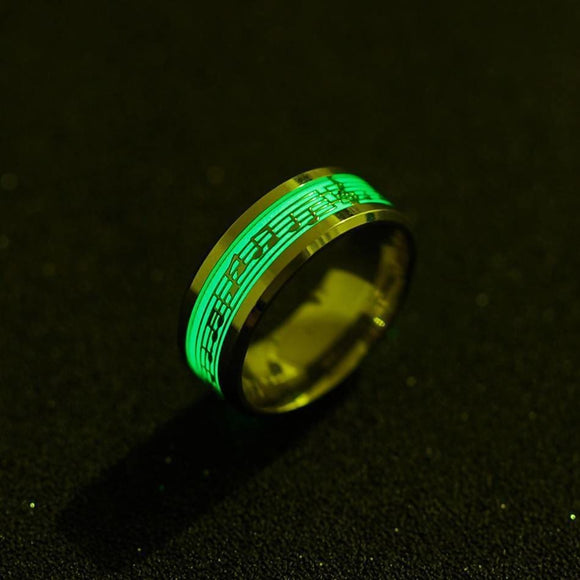 Music Glow In The Dark 316 Titanium Stainless Steel Men Women Ring Beautiful Ring Unisex > Jewelry & Accessories > Rings
