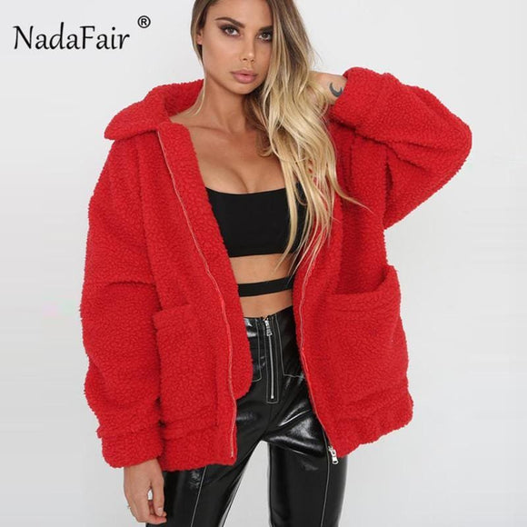 Nadafair Fleece Faux Shearling Jacket Coat Women Autumn Winter Warm Thick Teddy Coat Female Casual Overcoat Oversize Outerwear Best Sellers