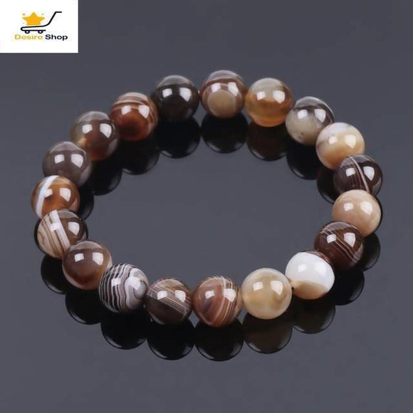 Natural Round Gem Stone Agates Onyx Men Bracelets Bangle 10Mm Brown Stripe Ethnic Rosary Bracelet Desire Shop