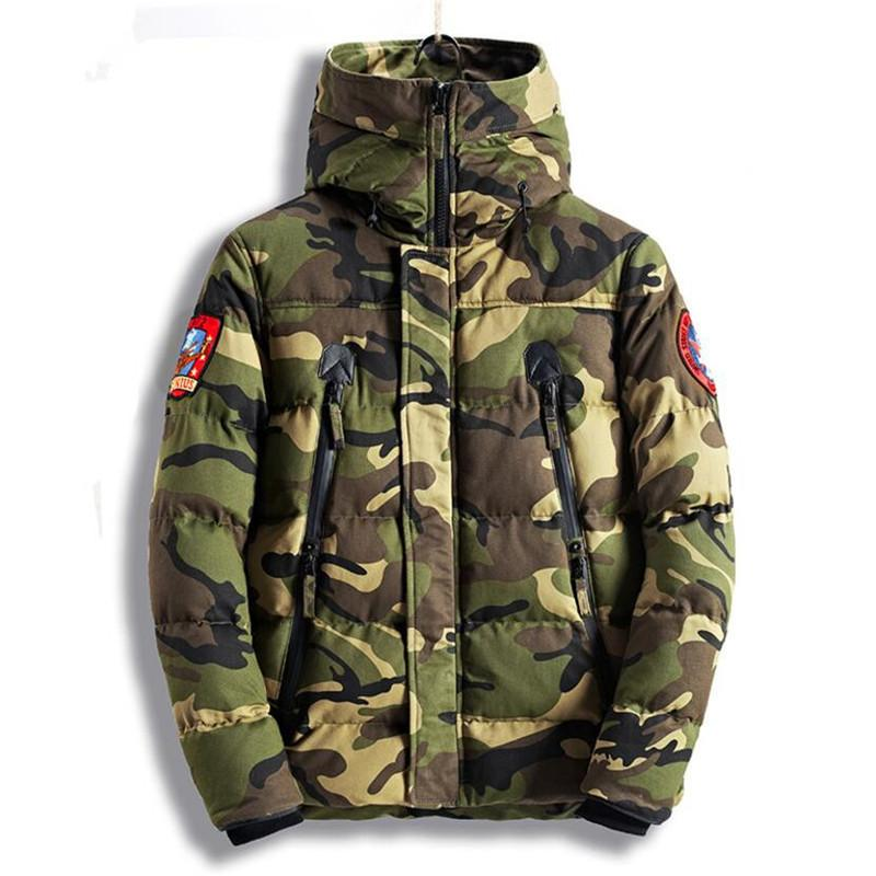 711b89a8f1c70 New 2018 Men s Military Bomber Jacket Parkas Thick Warm Camouflage Winter Jacket  Men Hooded Coat Padded