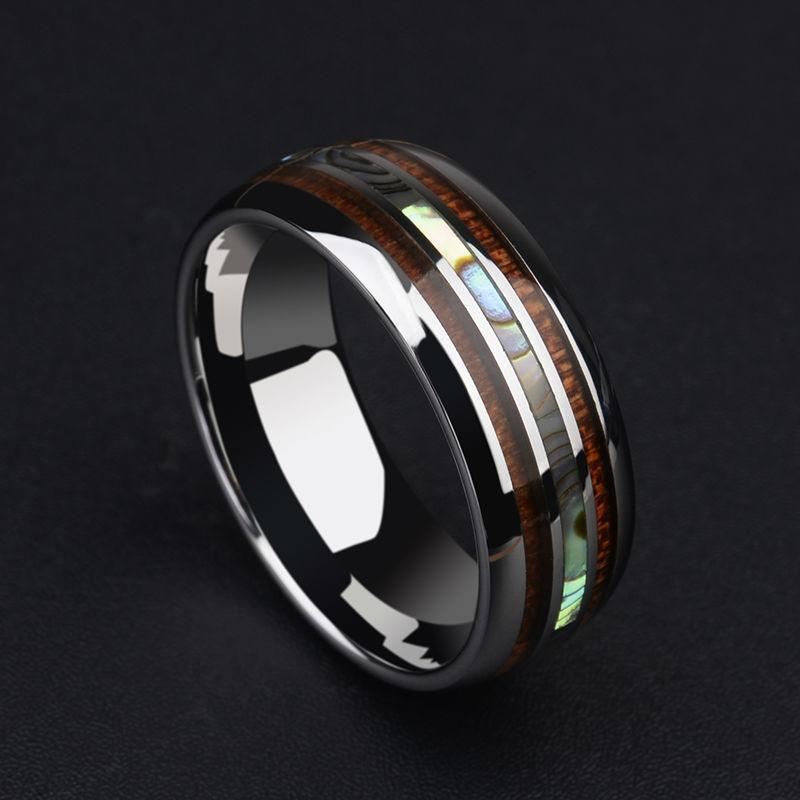 New Arrival 8MM Tungsten Man s Ring Dome Band Inlay Koa Wood and Two PCS  Mother of c4dd0c152b08