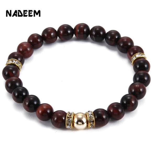 New Arrival Mens Beaded Jewelry 8Mm Red Tiger Eye Stone Crystal Charm Bracelets Party Gift Yoga Jewelry Nd2502 Apparel & Accessories >