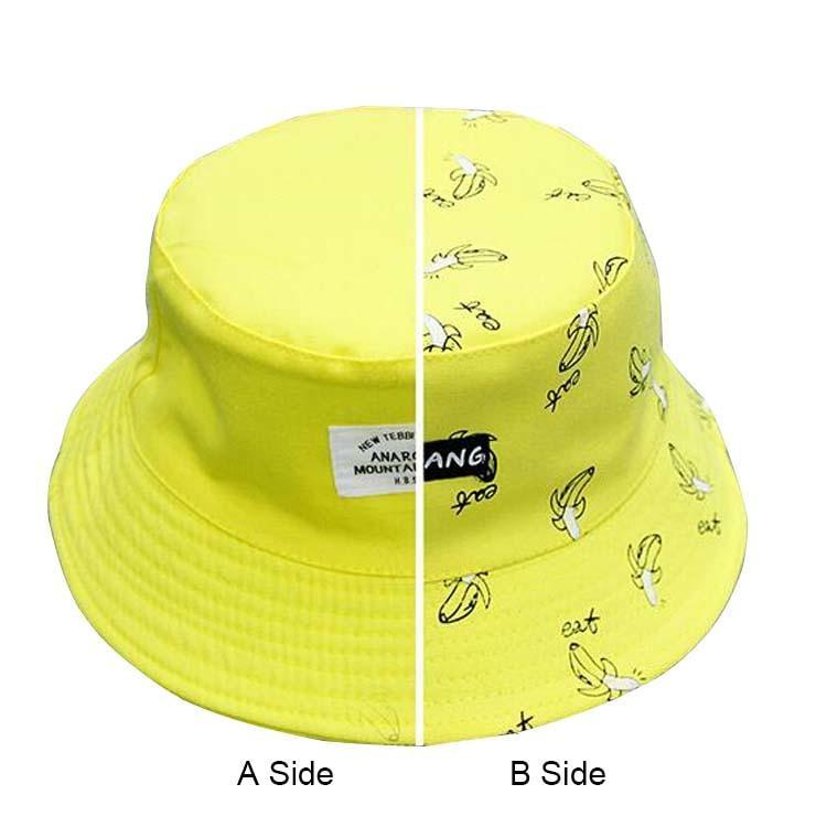 54879aac6ae New Autumn AB Side Unisex Lovers Cap Women s Panama Hats Banana Pattern  Summer Cotton Bucket Hats