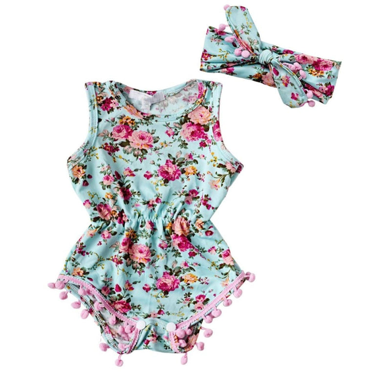 a8a97c09d7f New Baby Girl Romper Summer Romper Newborn Infant Baby Girls Floral Pom Pom Romper  Jumpsuit Sunsuit