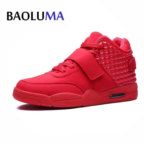 New Fashion Autumn Early Winter Men Casual Shoes Lover Red Faux Suede Men Lady High-Top Low Shoes Breathable Bootss Red Botas Apparel &
