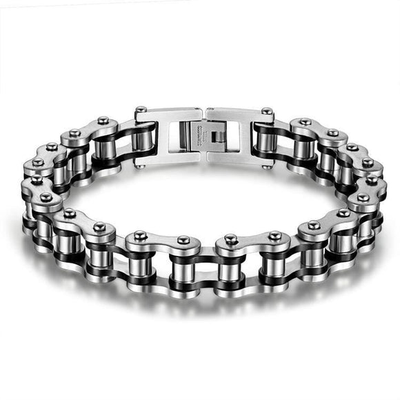 New Jewelry Metal Stainless Steel Biker Mens Motorcycle Chain Punk Rock Male Bracelet 8.46 Inch Color Gold/silver Gift Apparel & Accessories