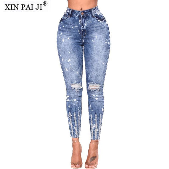 New Spring Summer Stretchy Blue Hole Ripped Jeans Woman Denim Pants Trousers For Women Pencil Skinny Jeans Apparel & Accessories > Clothing