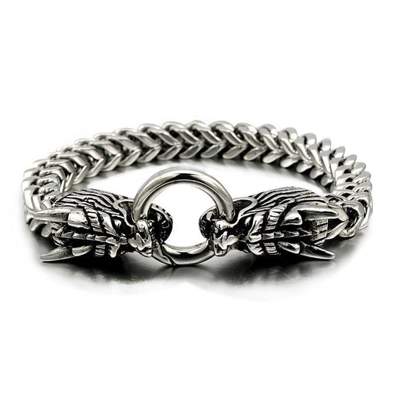 Niendo Silver Color Double Oriental Dragon Animal Bracelet Memorial Gift Men Stainless Steel Jewelry Db970 Apparel & Accessories > Jewelry >