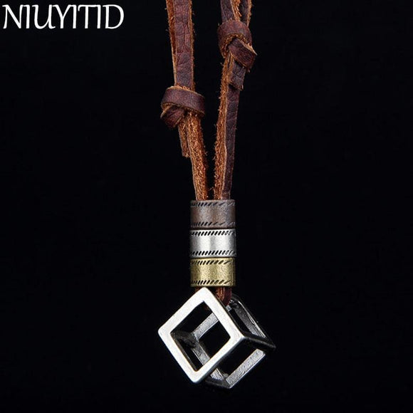 Niuyitid 100% Genuine Leather Men Necklaces Pendants Punk Vintage Adjustable Brown Rope Chain Male Jewelry Mens Jewellery Apparel &