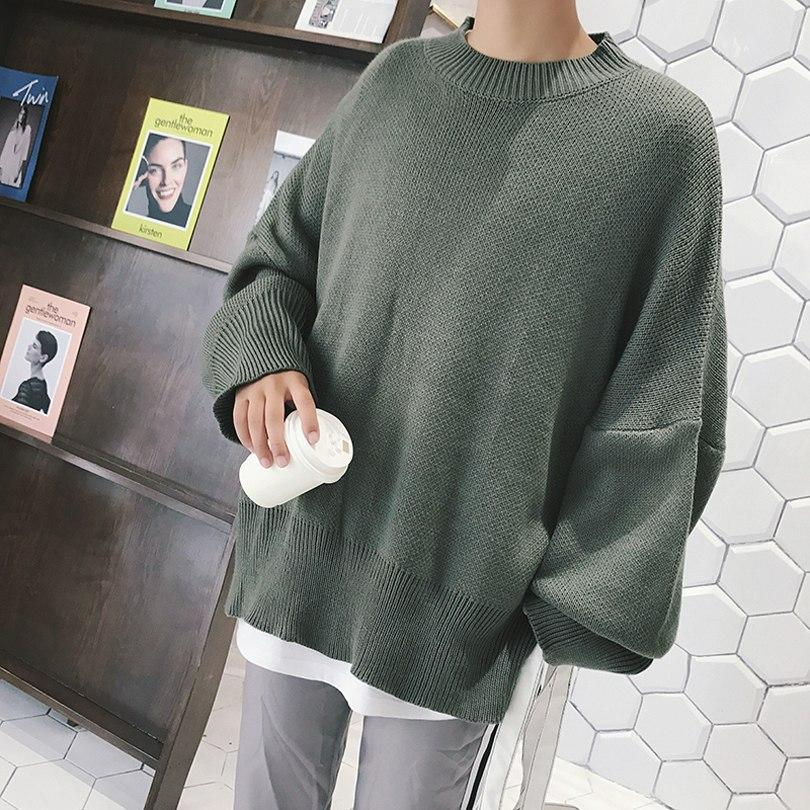 Oversized Knit Sweater Men Streetwear Fashion Casual Korean Oversize Loose  Round Collar Men Knit Sweater 4 bd3a7e440