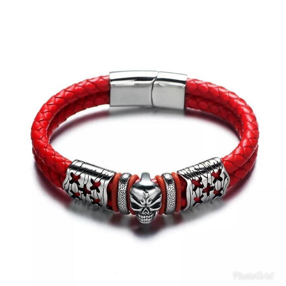 316L Stainless Steel&Nbsp; Double Braided Leather Skull Male Bracelet