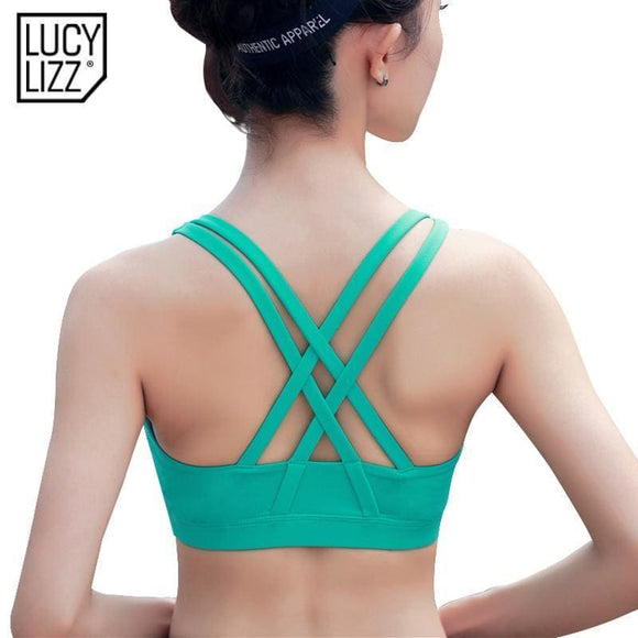 Professional Sport Bra Top Fitness Gym Women Strappy Vest Seamless Padded Yoga Bras Training Tank Top Push Up Running Underwear Apparel &