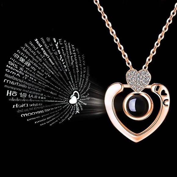Romantic Love Memory Wedding Double Heart 100 languages I love you Projection Pendant Necklace