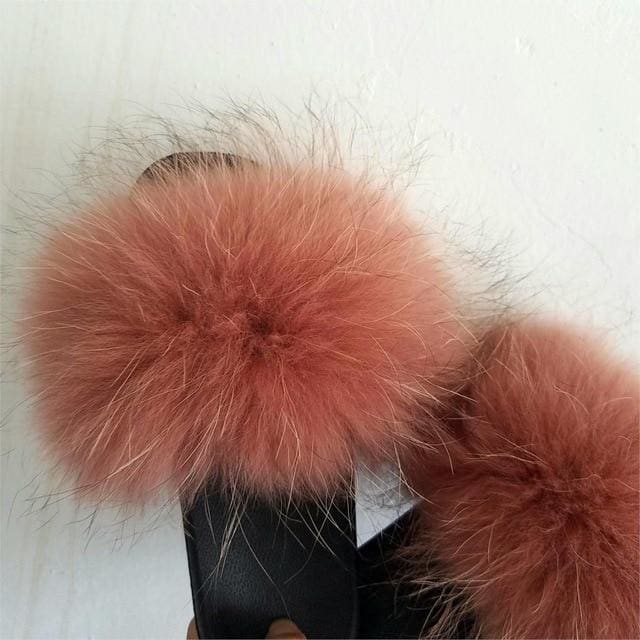 50c02aa8c169 Real Raccoon Fur Slippers Women Sliders Casual Fox Hair Flat Fluffy Fashion  Home Summer Big Size