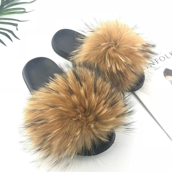 Real Raccoon Fur Slippers Women Sliders Casual Fox Hair Flat Fluffy Fashion Home Summer Big Size 45 Furry Flip Flops Shoes Zodeys