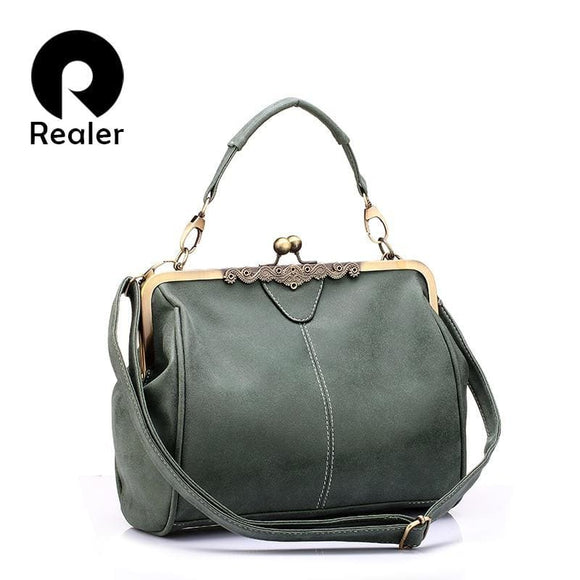 Realer Zodeys Retro Women Messenger Bags Small Shoulder Bag High Quality Pu Leather Tote Bag Small Clutch Handbags Realer Official Store