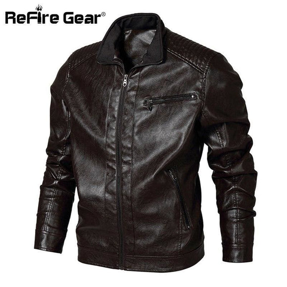 Refire Gear Winter Pu Leather Jacket Men Tactical Bomber Military Army Pilot Jacket Casual Windproof Motorcycle Jacket Us Size Refire Gear