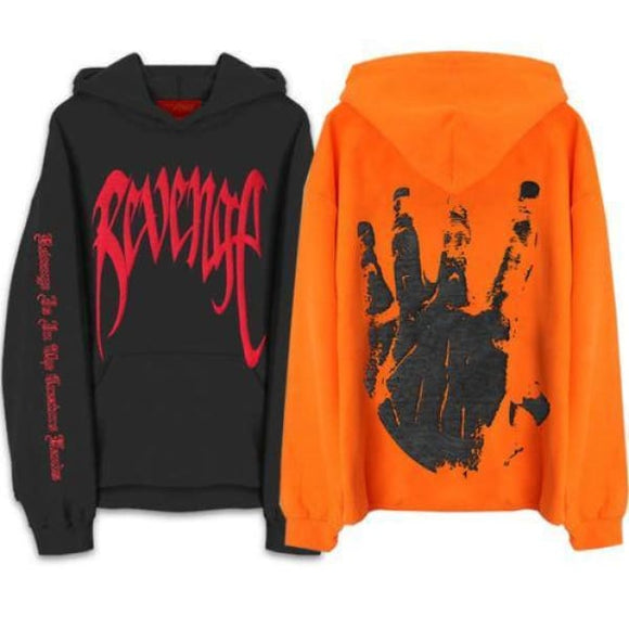 Revenge Xxxtentacion Mens Sweat Hoodie Sweatshirt Orange Black Zodeys