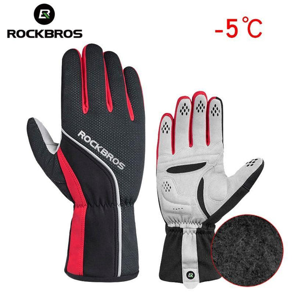 ROCKBROS Unisex Winter Cycling Gloves Sponge Padded Thermal Full Finger Bike Gloves Windproof Men's Outdoor Sports Bicycle Glove-Gloves-Zodeys-Black-L-Zodeys