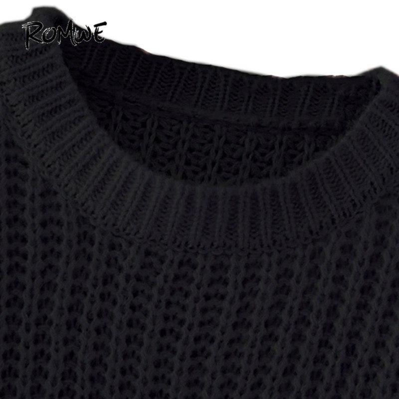 ROMWE Drop Shoulder Textured Knitted Sweater Pullovers Women Black Loose  Long Sweaters Fall 2018 Fashion Casual 9f916ee4d