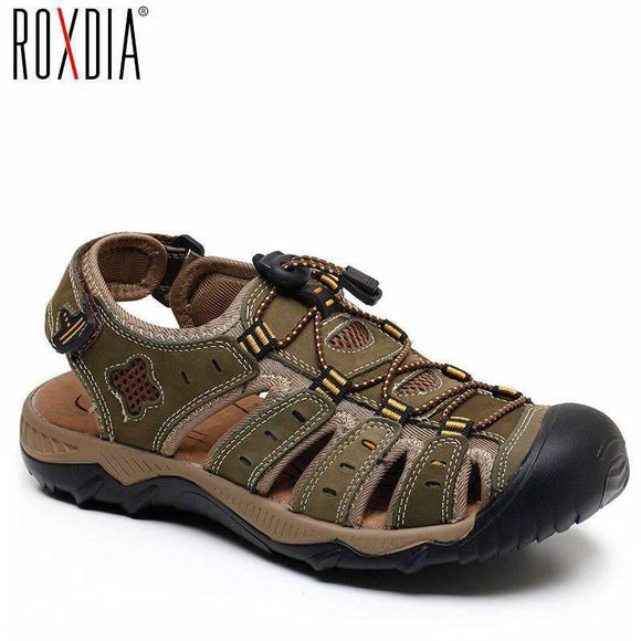 Roxdia New Fashion Summer Beach Breathable Men Sandals Genuine Leather Mens Sandal Man Causal Shoes Plus Size 39-48 Rxm007 Roxdia Official