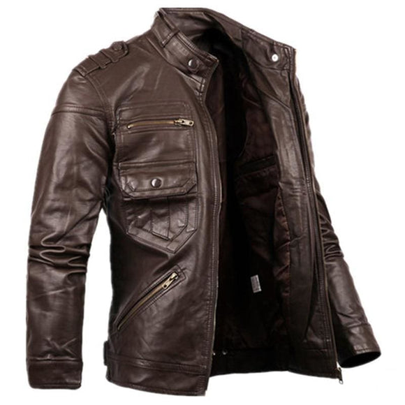 Russian Style Mens Zipper Leather Jacket & Coats Slim Fit Mens Motorcycle Avirex Leather Jackets Clothing S2156 Brown Zodeys