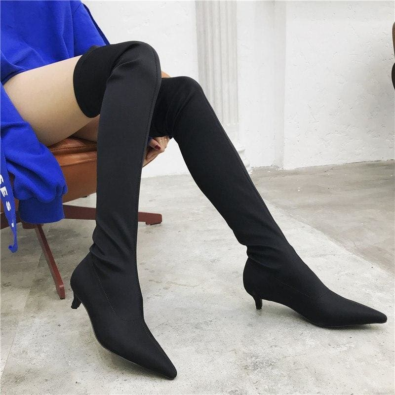 afdfa5ad0e7 Sexy Silk Elastic Over The Knee Boots Women Stiletto Heel Thigh High Boots  Fashion Botines Mujer