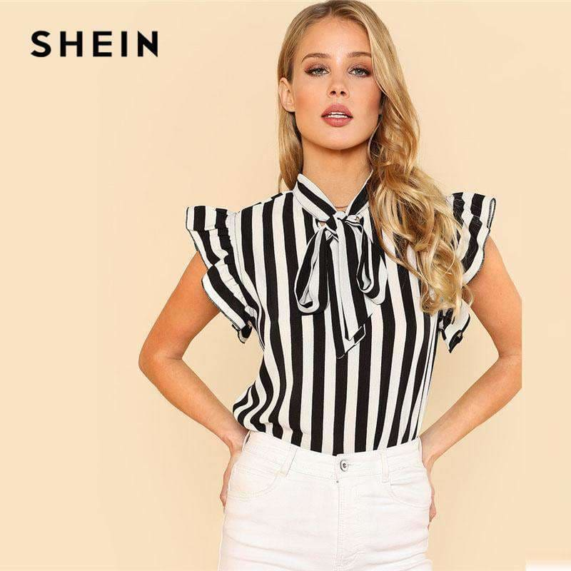 c08f9406081 Shein Summer Top Elegant Work Women Blouses Cap Sleeve Black And White Tie  Neck Butterfly Sleeve