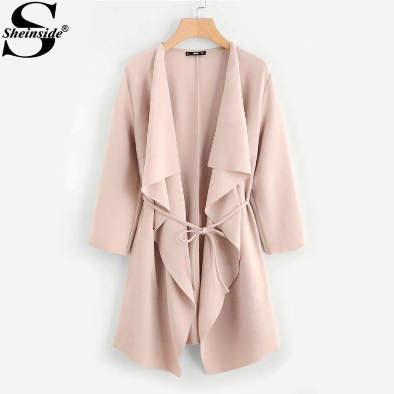 70207645417c Sheinside Waterfall Collar Pocket Front Wrap Work Wear Trench Peach 3 4  Sleeve Apricot Knee