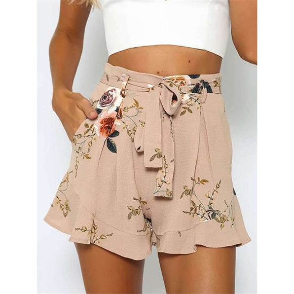 Shorts Women Floral Print Short Femme New Summer Style Hot Loose Belt Casual Thin Mid Casual Short Womens Plus Size Apparel & Accessories >